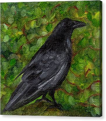 Raven In Wirevine Canvas Print by FT McKinstry