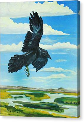 Raven Landing Canvas Print by Amy Reisland-Speer