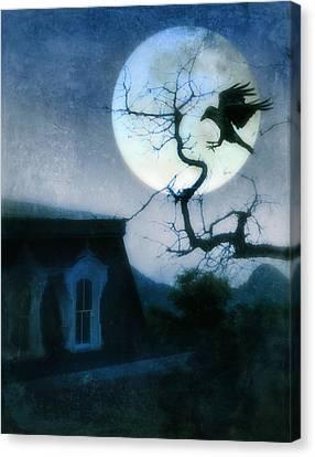 Raven Landing On Branch In Moonlight Canvas Print by Jill Battaglia