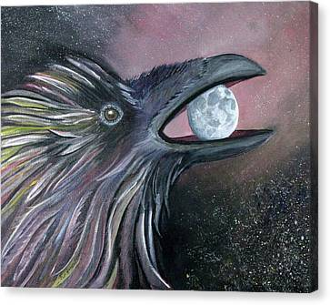 Raven Moon Canvas Print by Amy Reisland-Speer