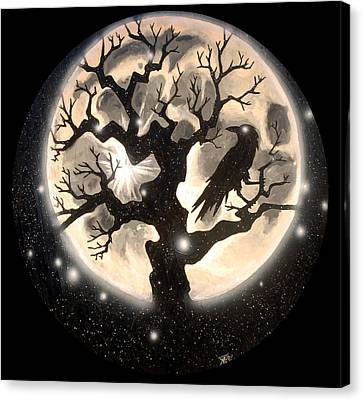 Raven Moon Canvas Print by Kevin Baker