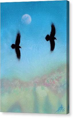 Raven Pair With Diurnal Moon Canvas Print