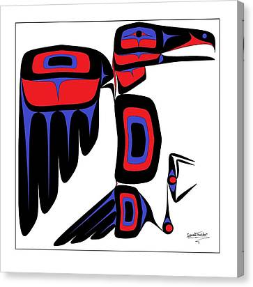 Raven Red And Blue Canvas Print by Speakthunder Berry