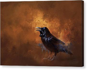 Canvas Print featuring the painting Raven by Theresa Tahara