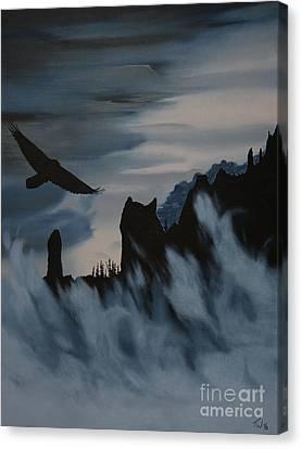 Raven Wolf Head Canvas Print by Stanza Widen