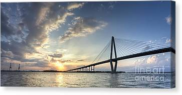 Ravenel Bridge Cooper River Sunset Canvas Print by Dustin K Ryan