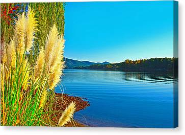 Ravenna Grass Smith Mountain Lake Canvas Print by The American Shutterbug Society