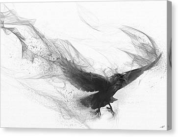 Canvas Print featuring the digital art Raven's Flight by Steve Goad