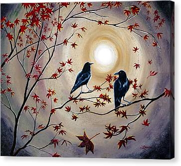 Ravens In Autumn Canvas Print by Laura Iverson