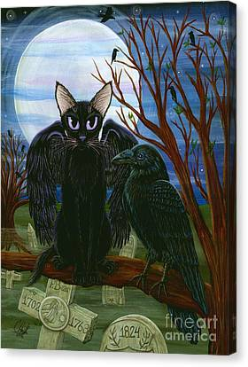 Raven's Moon Black Cat Crow Canvas Print by Carrie Hawks