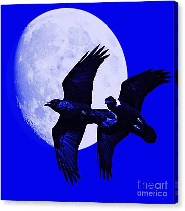 Ravens Of The Moon . Blue Square Canvas Print by Wingsdomain Art and Photography