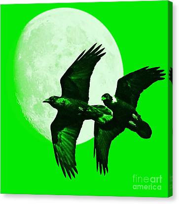 Ravens Of The Moon . Green Square Canvas Print by Wingsdomain Art and Photography