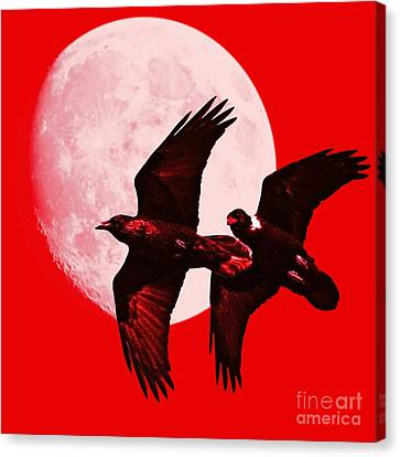 Ravens Of The Moon . Red Square Canvas Print by Wingsdomain Art and Photography