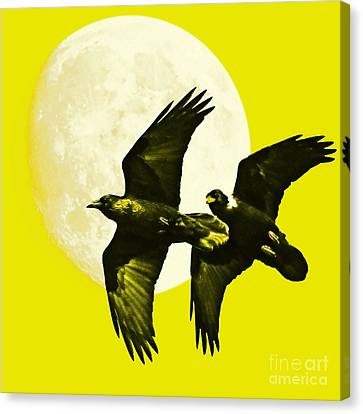 Ravens Of The Moon . Yellow Square Canvas Print by Wingsdomain Art and Photography