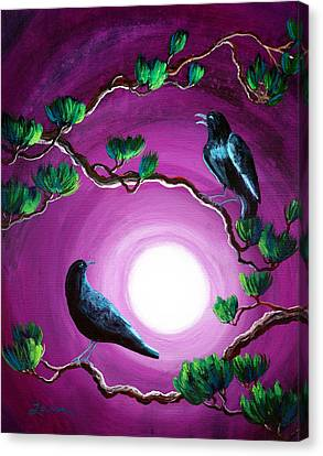 Wiccan Canvas Print - Ravens On A Summer Night by Laura Iverson