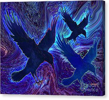 Canvas Print featuring the painting Ravens On Blue by Teresa Ascone