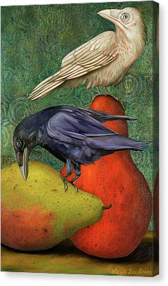 Ravens On Pears Canvas Print by Leah Saulnier The Painting Maniac