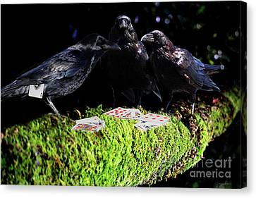 Ravens Playing Poker Canvas Print by Wingsdomain Art and Photography