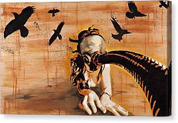 Ravens Remain The Harbinger Of Secrets Canvas Print by Tai Taeoalii