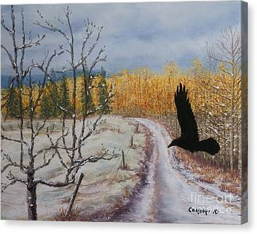 Canvas Print featuring the painting Raven's Thoughts Turned by Stanza Widen
