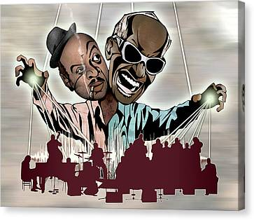 Ray Charles And Count Basie - Reanimated Canvas Print by Sam Kirk