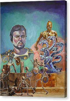 Canvas Print featuring the painting Ray Harryhausen Tribute Jason And The Argonauts by Bryan Bustard