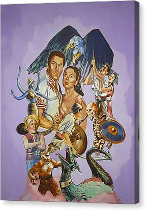 Canvas Print featuring the painting Ray Harryhausen Tribute Seventh Voyage Of Sinbad by Bryan Bustard