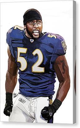 Autographed Art Canvas Print - Ray Lewis Baltimore Ravens by Michael  Pattison
