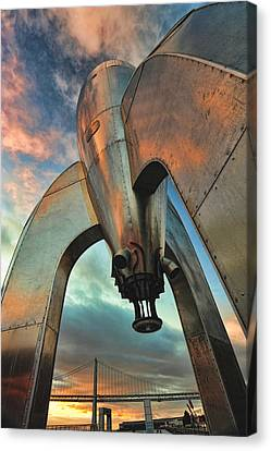 Canvas Print featuring the photograph Raygun Gothic Rocketship Blast-off by Steve Siri