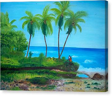 Canvas Print featuring the painting Raymond Les Bains Beach Jacmel Haiti  2 by Nicole Jean-Louis