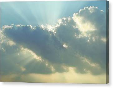 Rays Of Light In Clouds Canvas Print by Linda Phelps
