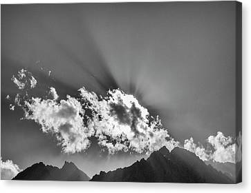 Canvas Print featuring the photograph Rays Through Clouds, Keylong, 2005 by Hitendra SINKAR