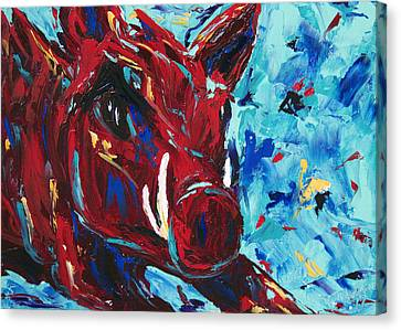 Razorbacks Canvas Print - Razorback by Beth Lenderman