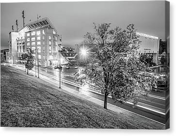 Razorback Stadium In Black And White - Fayetteville Arkansas Canvas Print