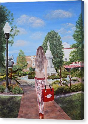 Razorback Swagger At Bentonville Square Canvas Print by Belinda Nagy