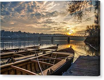 Re-enactment Boats At Washingtons Crossing At Sunrise Canvas Print by Bill Cannon