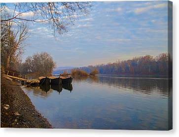 Re-enactment Boats At Washingtons Crossing  Canvas Print by Bill Cannon