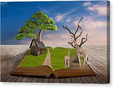 Canvas Print featuring the mixed media Reach For Your Dreams Giraffe Art by Marvin Blaine
