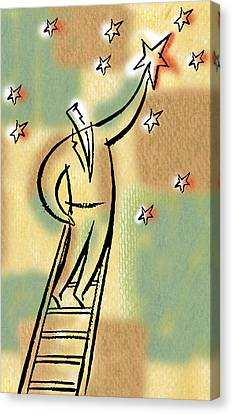 Canvas Print featuring the painting Reaching For The Star by Leon Zernitsky