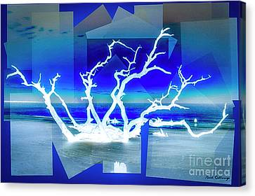 Reaching For You Driftwood Beach Jekyll Island Art Canvas Print by Reid Callaway