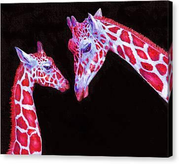 Read And Black Giraffes Canvas Print by Jane Schnetlage