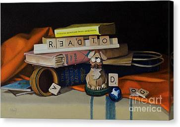 Read To A Dog Canvas Print by Margit Sampogna