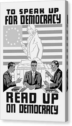 Read Up On Democracy - Vintage Wpa Canvas Print
