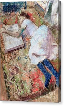 Reader Lying Down Canvas Print by Edgar Degas