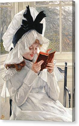 Reading A Book Canvas Print - Reading A Book by James Jacques Joseph Tissot