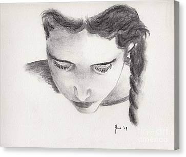 Canvas Print featuring the drawing Reading by Annemeet Hasidi- van der Leij