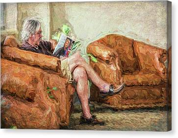 Canvas Print featuring the photograph Reading At The Library by Lewis Mann