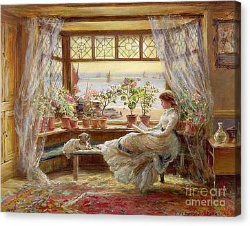Glass Canvas Print - Reading By The Window by Charles James Lewis