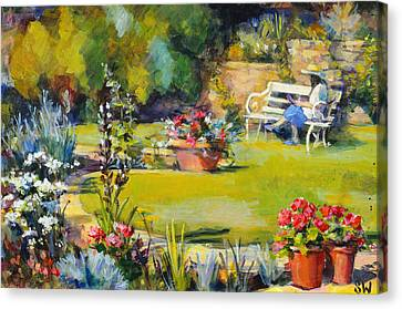 Reading In The Garden Canvas Print by Sue Wales