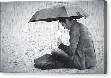 Reading In The Rain - Umbrella Canvas Print by Nikolyn McDonald